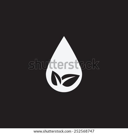 Eco water drop vector icon. Sprout in drop symbol. Ecological symbol. - stock vector