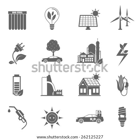 Eco water sun and wind energy icon black set isolated vector illustration - stock vector