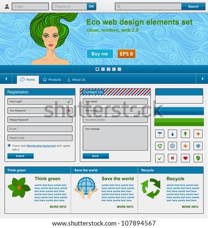 Eco web design elements set. Vector illustration - stock vector