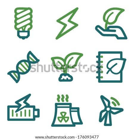 Eco web icons, green line set - stock vector