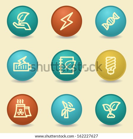 Eco web icons, retro buttons - stock vector