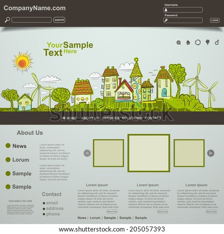 Eco website template design, vector - stock vector