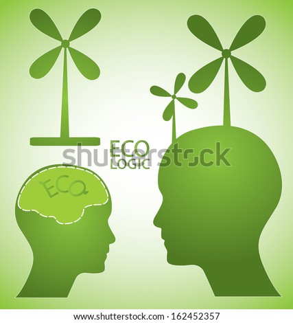 Ecologic concept vector design. Green abstract vector illustration with wind turbine, human head and brain. Abstract editable eps10 vector.  - stock vector