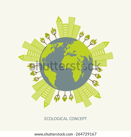 Ecologic environment concept in flat style. Green planet illustration - stock vector