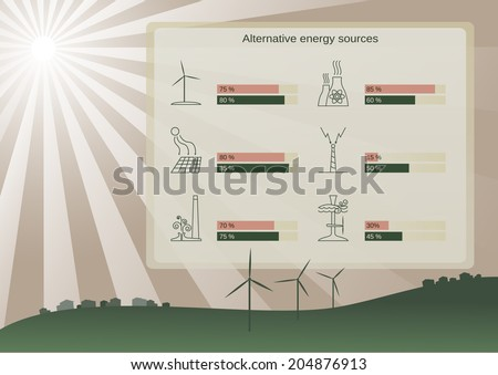Ecological alternative energy sources infographic - stock vector