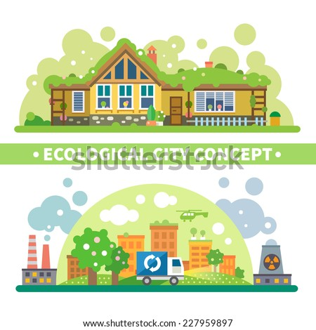 Ecological city concept: green house and environment protection from pollution and radiation. Vector flat illustration - stock vector