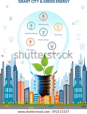 Ecological city concept.Smart city concept and Green energy with different environmental icons. Green city design. Smart city concept/ Smart energy - stock vector