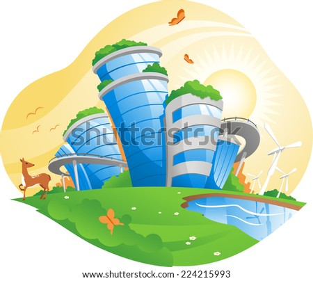 ecological city, working for the environment, antipollution projects, pollution control, conservation of natural resources, environmental policy. vector illustration.  - stock vector