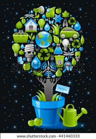 Ecological design with ecology nature symbols icon set in tree. With watering can, flower pot and apple fruits. Black background. Environment protection concept includes group of ecological objects - stock vector