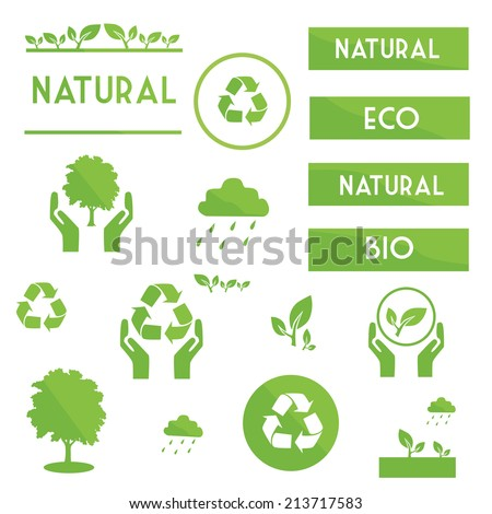 Ecological elements symbols and signs of green color on a white background / Ecological elements symbols - stock vector