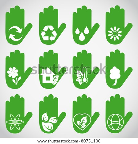 Ecological hands - stock vector