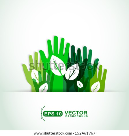ecological hands up - stock vector