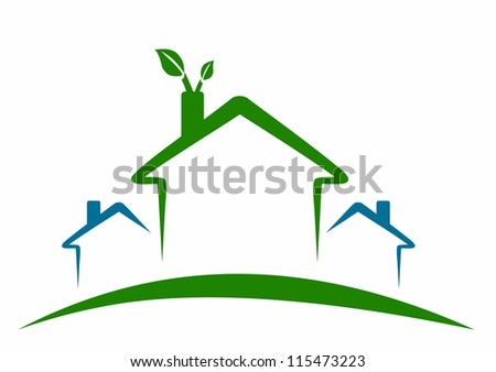 ecological houses - green energy - stock vector