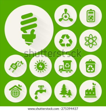 Ecological icons collection on round buttons - stock vector