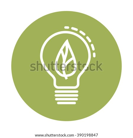 Ecological light bulb icon with leaf inside. Flat Style. - stock vector