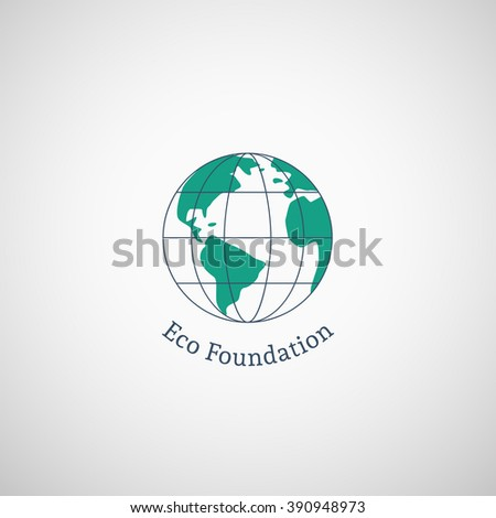 Ecological logo template with globe. Vector emblem for eco foundations, organic products, natural food and medicine, green technology - stock vector