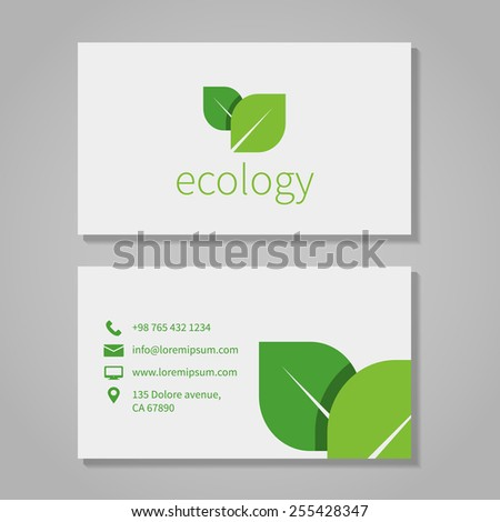 Ecological or eco energy company business card template with green leaves. Cutaway and contact details. Vector illustration - stock vector