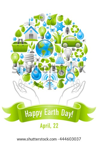 Ecological set poster design with human hands and icons for Earth day. Environment protection concept with recycling symbol, Earth globe, garbage can, electric car, light bulb, wind turbine, water - stock vector