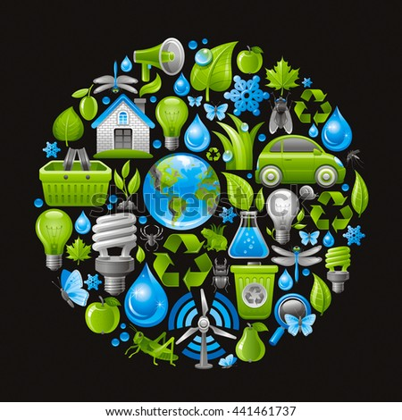 Ecological set with green icons on black background for environment protection concept. Recycling symbol, Earth globe, garbage can, electric car, light bulb, insect, organic food, wind turbine, water - stock vector