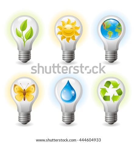 Ecological set with light bulb icons on white background for environment protection or alternative energy concept. Energy efficient Light bulb with Recycling symbol, Earth globe, water drop, butterfly - stock vector
