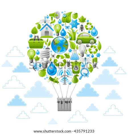 Ecological set with vintage balloon for air travel and green icons. Environment protection concept with recycling symbol, Earth globe, garbage can, electric car, lightbulb, insect, wind turbine, water - stock vector