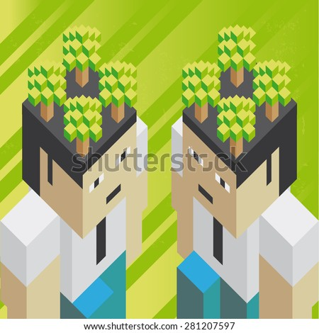 Ecological thinking  Illustration of the concept of two businessmen with ecological thinking, in isometric old video game style. The grunge texture is removable from the background. - stock vector