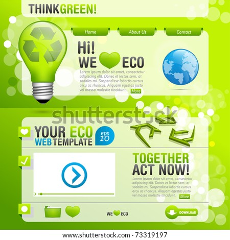 Ecological Web Template modern style with bokeh background - stock vector