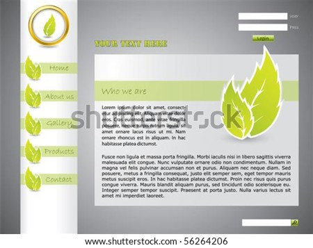 Ecological website template with green color - stock vector