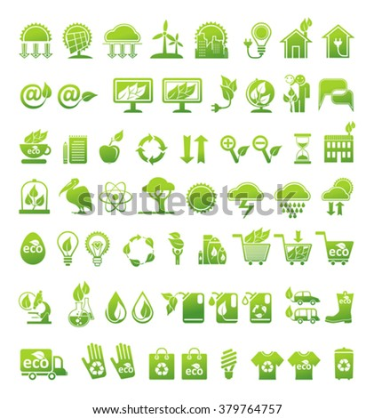 Ecology, alternative energy sources and market. Vector icons set. - stock vector