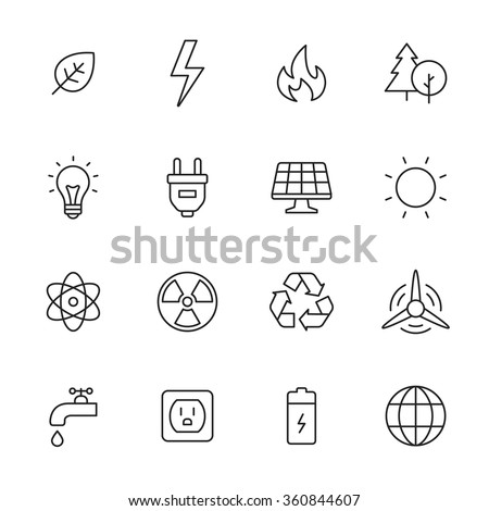 Ecology and energy line icons - stock vector