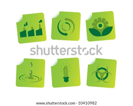 Ecology and energy stickers - stock vector