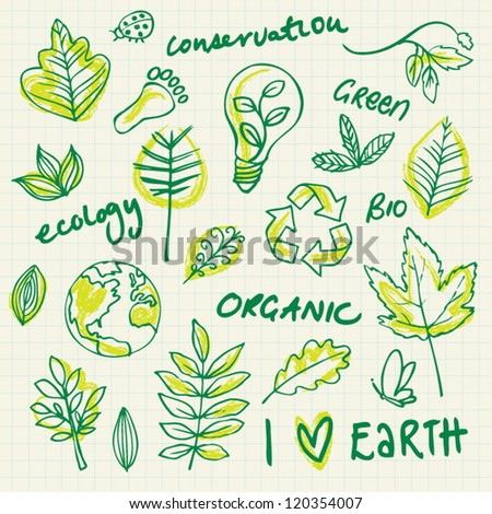 Ecology and environment doodle set - stock vector