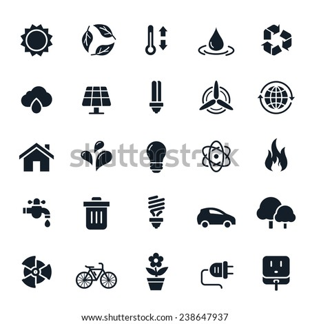 Ecology and Environment Icons Vector Illustration - stock vector