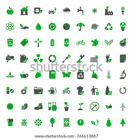 Ecology and environment vector icons set - stock vector
