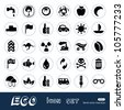 Ecology and environment web icons set. Hand drawn sketch illustration isolated on white background - stock vector