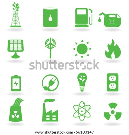 Ecology and green environment related icons - stock vector