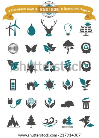 Ecology and natural icons on white background,clean vector - stock vector