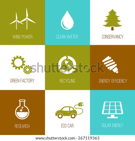 Ecology and nature conservation icons flat designed set - stock vector