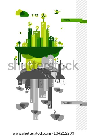 Ecology and pollution city concept. Environment idea illustration. EPS10 vector file organized in layers for easy editing. - stock vector