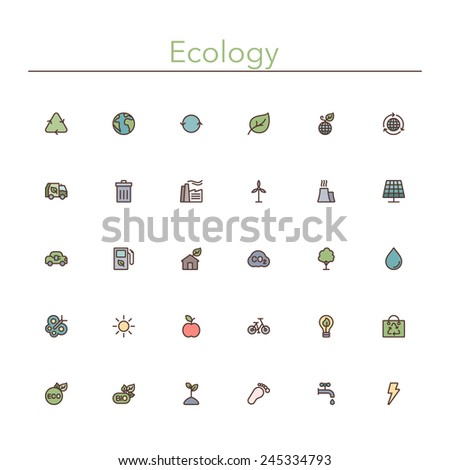 Ecology and Recycling colored line icons set. Vector illustration. Geometric background. - stock vector