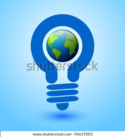 Ecology and saving energy icon with light bulb and planet Earth - stock vector