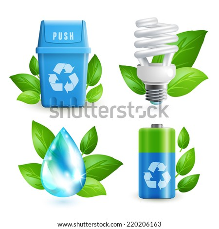 Ecology and waste colored icons set of trash can lightbulb water drop battery isolated vector illustration - stock vector