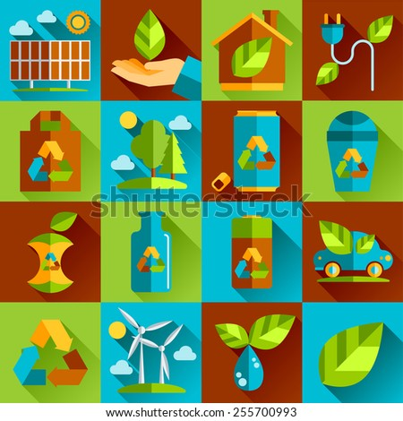Ecology and waste flat icons set of trash recycling conservation isolated vector illustration. - stock vector