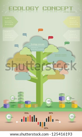 Ecology background,info graphics,tree,vector - stock vector