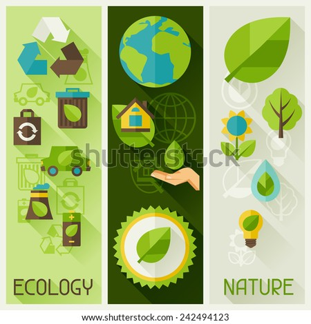 Ecology banners with environment, green energy and pollution icons. - stock vector