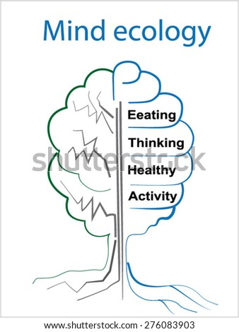 Ecology brain info graphic Tree with dried branches. Figure brain-shirts. Eat. think. be healthy. Show activity. ecology of life - stock vector