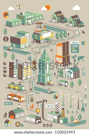 ecology city info graphic elements,vector background - stock vector