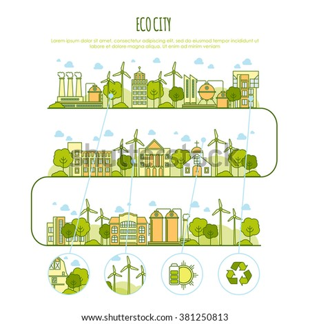 Ecology city infographic vector  template with thin line icons of eco farm technology, sustainability of local environment, town ecology saving. Thin line design graphic image concept - stock vector