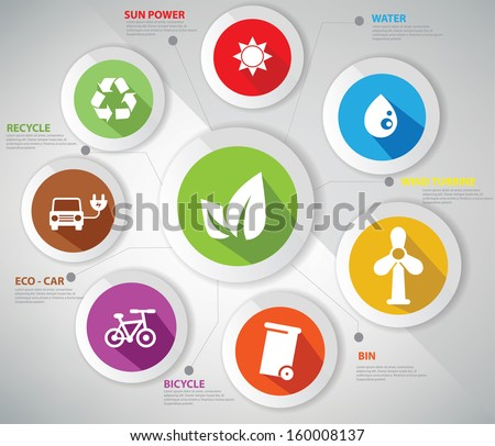 Ecology concept,Abstract,Colorful version,vector - stock vector