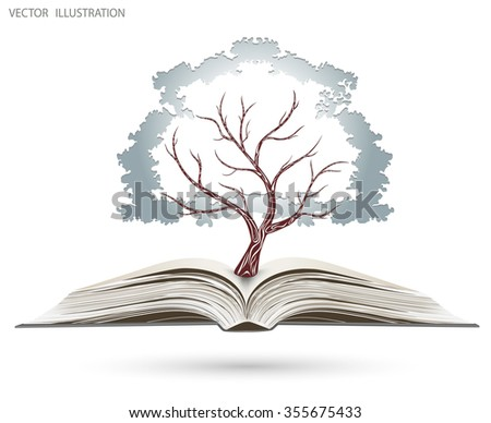 Ecology concept, blue paper tree growing from an open book, Vector illustration modern design template - stock vector